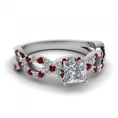 Princess Cut Created White Sapphire Rhodium Plating Engagement Ring