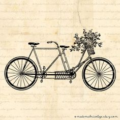Tandem Bicycle + Flower Basket, Digital Download for Iron-on Transfer.  only $1! great for adding to any tee to spruce it up!