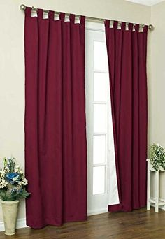 Commonwealth Home Fashions 7029215380395 Thermalogic Insulated Solid Color Tab Top Curtain Pairs 95 in Burgundy * Visit the image link more details.