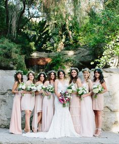 pink flower crown bridesmaids