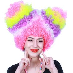 Halloween Christmas Party Supplies Color Synthetic Wig Explosion Hair Style Funny Props Curly Cheap Cosplay Wig Free Shipping