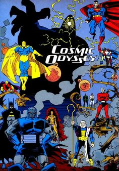Cosmic Odyssey four-issue limited series published by DC Comics. Written by Jim Starlin, penciled by Mike Mignola, inked by Carlos Garzon, colored by Steve Oliff and lettered by John Workman. Marvel Comics Superheroes, Dc Comics Heroes, Hq Marvel, Dc Comics Characters, Dc Comics Art, Read Comics, Comic Book Artists, Comic Artist, Comic Books Art