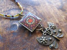 Boho 'La Hermosa' Mexican Tile Butterfly Beaded Necklace by FayWestDesigns