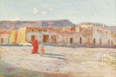 Algérie - Peintre Français Étienne DINET (1861-1929), huile sur toile, Titre : Rue à Bou- Saada