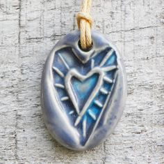 Blue Heart Ceramic Pendant Necklace Casual Mens Womens by BluMudd, $8.00