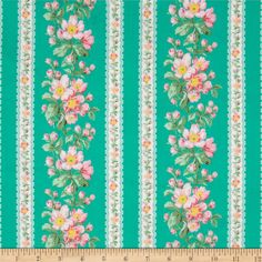 Verna Mosquera Snapshot Blooming Border Stripe Shade from @fabricdotcom  Designed by Verna Mosquera for Free Spirit, this cotton print is perfect for quilting, apparel and home decor accents. Colors include shades of pink, shades of green, and cream on a teal green background.