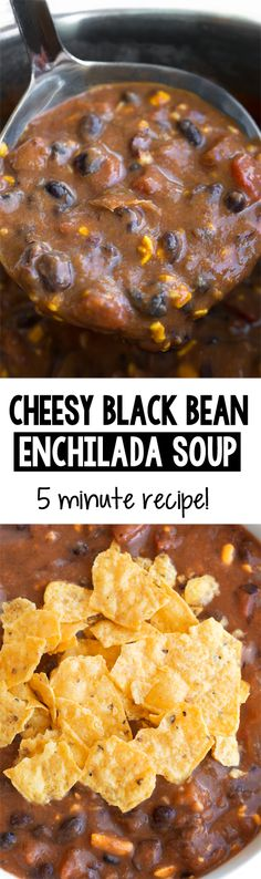 Cheesy Vegetarian Black Bean Enchilada Soup - A healthy, vegetarian enchilada black bean soup recipe that's chock full of vegetables and super healthy and delicious Mexican Food Recipes, Vegetarian Recipes, Healthy Recipes, Healthy Lunches, Dinner Recipes, Healthy Eating, Easy Baking Recipes, Cooking Recipes, Black Bean Enchiladas