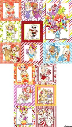 "Loralie - Sweetie - Treat Yourself - 24"" x 44"" PANEL - Quilt Fabrics from www.eQuilter.com"