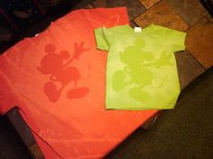 Mickey shirts - could probably do this as follows, lay cardboard inside shirt, lay mickey template down, spray shirt with bleach spray  on fine mist setting in spray bottle) allow to dry, turn over, spray entire back