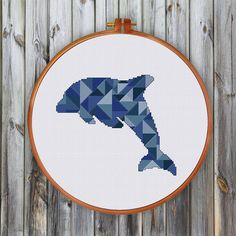 Geometric Dolphin cross stitch pattern modern cross by ThuHaDesign