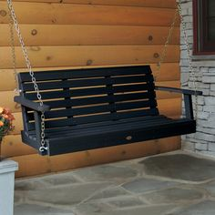 HighWood Marine-grade Synthetic Wood Weatherly Porch Swing (Eco-friendly) - Overstock Shopping - Great Deals on highwood Hammocks/Swings Nantucket, Outdoor Furniture, Outdoor Decor, Garden Furniture, Outdoor Gardens, Outdoor Living, Backyard, Eco Friendly, Real Wood