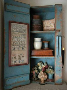 blue cubby with sampler