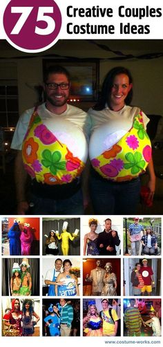 Check out coolest homemade Halloween costume ideas. After creating your very own unique Halloween costume - send a photo of your costume to our annual Halloween contest to show off your creativeness and win prizes! Diy Couples Costumes, Couple Halloween Costumes, Diy Costumes, Halloween Couples, Couple Costume Ideas, Halloween Horror, Funny Couple Costumes, Zombie Costumes, Vampire Costumes