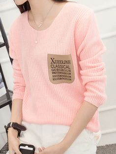 ed38abf49d5ef Round Neck Plain Long Sleeve Sweaters Pullover. Long Sleeve Sweater