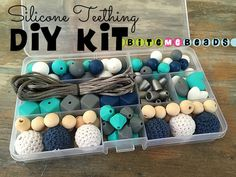 Silicone Teething DIY Kit - Food Grade Loose Silicone Teething Beads Baby Chew Jewelry Nursing Necklace - White/Grey/Turquoise/Sapphire by BiteMeBeads on Etsy https://www.etsy.com/listing/272186600/silicone-teething-diy-kit-food-grade
