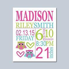 Owl Birth Print,Girl Birth Print,Baby Girl Birth Announcement,Owl Birth Announcement,Owl Baby Gift, Baby Shower Gifts for Girl,Owl Nursery Decor,Owl Nursery Wall Art-8X10 UNFRAMED PRINT (NOT CANVAS)
