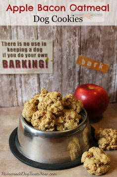 "Homemade Dog Food Apple Bacon Oatmeal Dog Treat Cookies Recipe Homesteading - The Homestead Survival .Com ""Please Share This Pin"" Puppy Treats, Diy Dog Treats, Homemade Dog Treats, Homemade Cookies, Bacon Dog Treats, Homemade Oatmeal, Pumpkin Dog Treats, Healthy Dog Treats, Dog Treat Cookie Recipe"