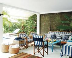 love the rattan with some natural some painted bright, and the dark rattan blinds