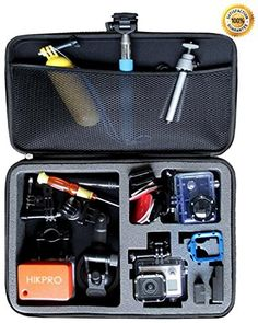 Large Gopro Case for Hero 3 3+ Camera Highest Quallity EVA Shockproof Go pro HD Hero3+ Cameras Bag Black Premium Edition + With Enough Space for Float Helmet Wrist Pole Remote Control Lens Battery LCD Screen SD Card Accessories + HIKPRO 5 Year Warranty (799632954804) Keeps your GoPro and accessories safe, protected, and organized. Foam padding on ALL sides. HIKPRO CASE are made with High quality EVA interior features compartments for GoPro Hero 1, GoPro Hero 2, GoPro Hero 3, or GoPro Hero 3…
