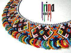 Ukrainian traditional necklace. Beaded collar. Silyanka. Seed bead necklace. Gerdan