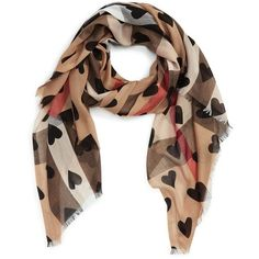 Women's Burberry Check & Heart Pattern Scarf ($435) ❤ liked on Polyvore featuring accessories, scarves, burberry, burberry scarves, woven scarves, burberry shawl and checkered scarves