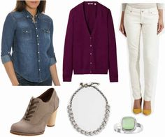 Denim shirt, purple cardigan, white pants, neutral ankle boots, crystal necklace, green ring