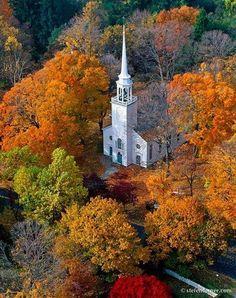 new england, wooden church, color, autumn, beauti church, place, countri church, fall beauty, country churches