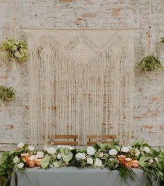 Macrame Wall Hanging 175 x 185 Cm Boho Art Curtain Tapestry Wedding Backdrop Tapestry Wall Hanging, Green Texture, Boho Curtains, Boho Inspiration, Outdoor Ceremony, Foto E Video, Boho Wedding, Wedding Styles