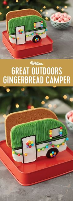 Great Outdoors Gingerbread Camper - Add to the fun of your gingerbread house decorating by parking a gingerbread camper in the scene. Kit includes icing and candy to decorate the cutest camper ever. It's a fun add on gingerbread kit to display with your gingerbread house under the Christmas tree or on your Christmas dessert table. #gingerbreadhouse #christmas #diy