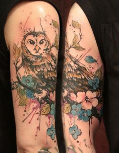 Watercolor Owl On Blossoms Branch Tattoos