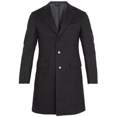 Brioni Single-breasted wool-blend overcoat (£3,240) ❤ liked on Polyvore featuring men's fashion, men's clothing, men's outerwear, men's coats, grey, mens slim fit coat, mens single breasted pea coat, mens wool blend coat, mens slim pea coat and mens grey coat