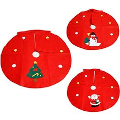 Kerocy Large Fancy Santa Claus Christmas Tree Skirt Red Circle Xmas Holiday Party Decoration Supplies Random Pattern 45cm -- Details can be found by clicking on the image. (This is an affiliate link) #ChristmasTreeSkirts
