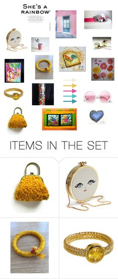 """""""Colorful Finds...."""" by chicavantgarde ❤ liked on Polyvore featuring art"""