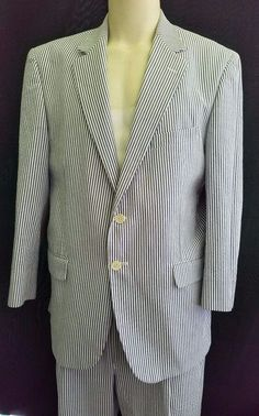 EXC Cotton SEERSUCKER 2 Piece Suit 43R Jacket 38/30 Pants Hardwick Clothes Mens…