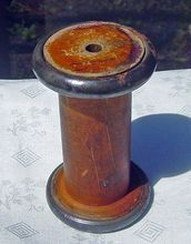 Vintage Large Wooden Industrial Sewing Spool With Metal Ends (pinned by www.redwoodclassics.net).