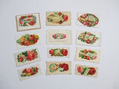 Vintage Victorian Calling Cards  Flowers Doves by vintagenelly