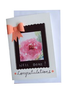 Congratulations Greeting Card #Cards #congratulate #wishes #handmade #paintedcard #bow #congratulation #wishes #greetingcard