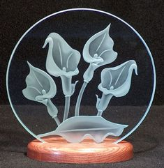 Carved Glass Calla Lilies 9 inch Circle in Handcrafted Wooden Base