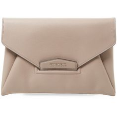 Givenchy Women's Leather Clutch - Light/Pastel Brown (29 940 UAH) ❤ liked on Polyvore featuring bags, handbags, clutches, leather handbags, brown clutches, brown leather purse, flat purse and leather clutches