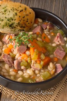 BEST EVER recipe for Ham and Bean Soup! An all-time favourite recipe for leftover ham, so hearty and delicious. BEST EVER recipe for Ham and Bean Soup! An all-time favourite recipe for leftover ham, so hearty and delicious. Recipe For Ham And Bean Soup, Bean Soup Recipes, Bean Soup With Ham, Ham Bone Bean Soup, Ham And Cabbage Soup, White Bean Ham Soup, Navy Bean Recipes, Ham Hock Soup, Ham And Lentil Soup