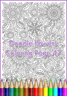 Colouring page zendoodle flowers printable by ZentangleHouse