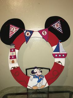 Mickey Mouse nautical sailor lifeguard photobooth frame with boat lighthouse and banner name