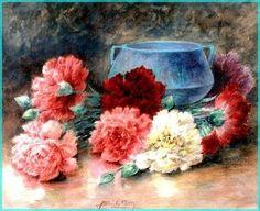 Carnations, Gouache, Watercolor Art, Painting, Recherche Google, Flowers, Fruit Animals, Watercolor Artists, Bunch Of Flowers