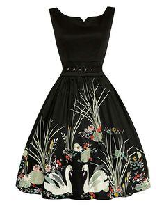 2d5c023db163 Lindy Bop Delta Black Swan Swing Dress Size 16 Dresses, Funky Dresses,  Vintage Style