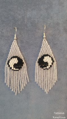 Author's beaded earrings Long evening Native earrings Seed bead earrings chandelier earrings Beadwork Fringe symbol yin yang day and night Small Earrings, Seed Bead Earrings, Unique Earrings, Beaded Earrings, Seed Beads, Beaded Jewelry, Crochet Earrings, Fringe Earrings, Wire Jewelry