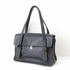 Authentic  Prada Hand Bag  Made In Italy Black Leather 11141
