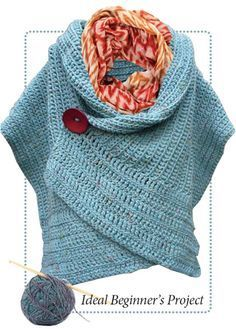 Simple crochet wrap: Pattern for sale. finished size is 15 wide by 55.5 long.  Crochet rectangle then add the extra inches in another stitch going in other direction for several inches until finished length.( 14 in or so)