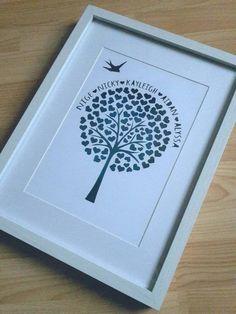 Arbre magnifique coeur familial personnalisé dans un cadre de boîte d'ombre par KaidalysPapercuts sur Etsy https://www.etsy.com/ca-fr/listing/256673138/arbre-magnifique-coeur-familial