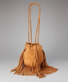 Take a look at this Whiskey Fringe Bo Suede Sling Shoulder Bag by Linea Pelle on #zulily today!