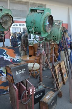 lights, camera, action! - Long Beach Antique Market Steampunk Furniture, Vintage Industrial Furniture, Industrial House, Industrial Lighting, Industrial Chic, Vintage Lighting, Antique Fairs, Antique Shops, Long Beach Antique Market